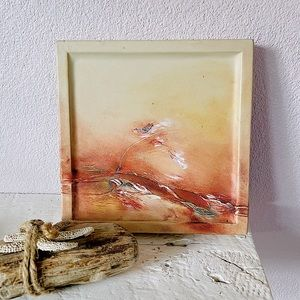 """VTG 70s Oil Painting on Leather Peach 7"""" x 7"""""""